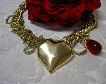 Love Sick: Heart Necklace VALENTINES DAY Vintage Assemblage Modernist Carved Heart Heavy Gold Chain VAMPIRE Statement Ruby Glass Blood Drop