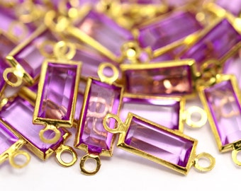 Purple Lucite Connector, 100 Lucite With Brass Frame Caged Connectors 16x5.50 Mm L37