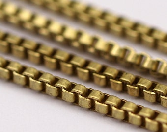 Cube Brass Chain, 2 M - Cube Raw Brass Chain (1.4mm) ( Z070 )