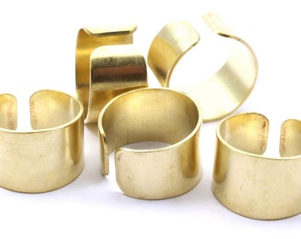 Smooth Ring Settings - 12 Raw Brass Adjustable Smooth Ring Settings (19mm)  Mn53