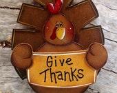 Give Thanks Turkey Shelf Sitter