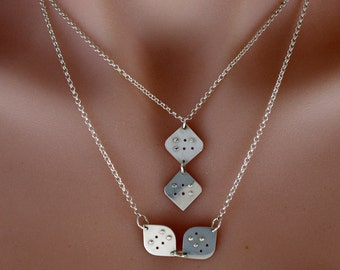 Personalized Braille TWO initial/letter Necklace in sterling silver,Custom necklace, braille jewellery,unisex jewelry, unique gift, gift