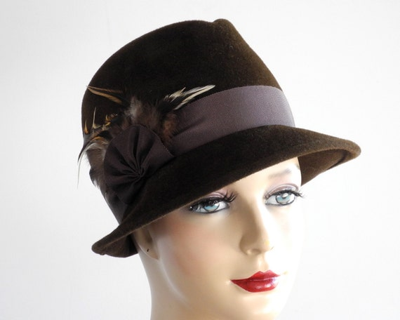 brown felt fedora hat womens hat fall fashion by katarinahats