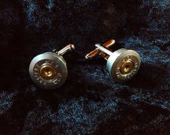 Rifle casing cuff links silver finish