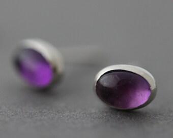 Sterling Amethyst Earrings silver studs post earrings