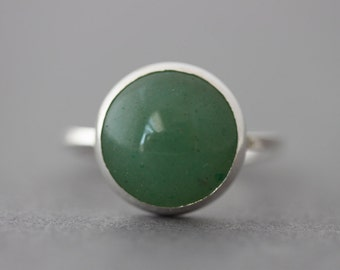Statement Ring - Sterling Aventurine Ring - Size 5.5 US/CANADA