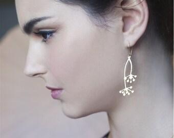 Hanabi Earrings in Gold, Japanese inspired branch pendant
