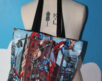 superman city tote bag
