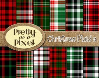 Printable Scrapbook Paper - Christmas Plaid 2 - 12 x 12 - Set of 12 - INSTANT DOWNLOAD