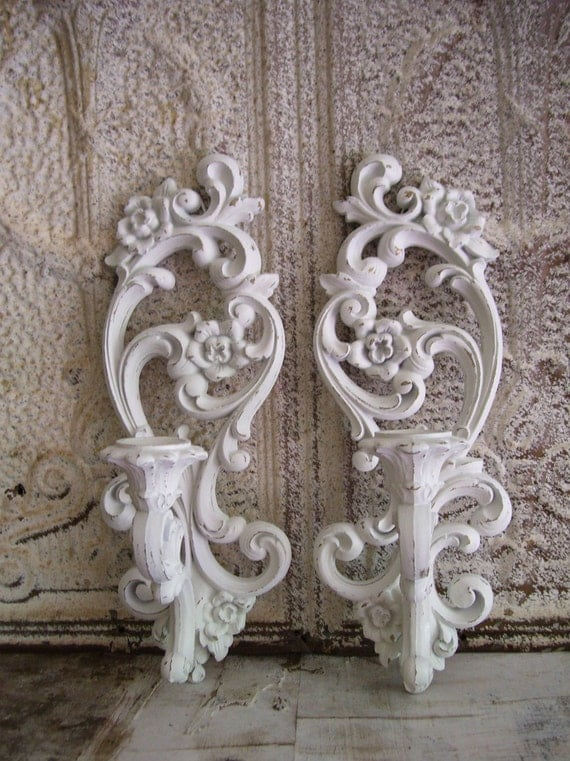 Vintage Shabby Chic candle holders Wall sconces Floral Cottage