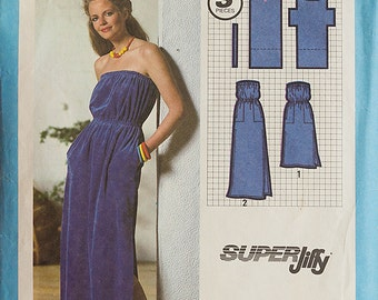 Vintage Simplicity 9032 Sewing Pattern Misses Super Jiffy Pullover Dress in two lengths, Sized for stretch knits only, Bust 32 - 34