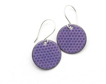 Purple Earrings, Lavender Earrings, Round Enamel Earrings, Polka Dot Jewelry, Copper and Sterling Silver / europeanstreetteam