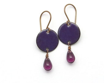 Purple Drop Earrings - Antiqued Copper Earrings - Copper Enamel Earrings with Purple Glass Teardrops
