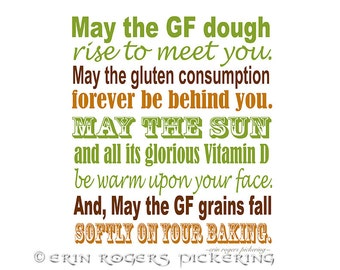 GF Irish Blessing in Green and Gold 8x10 Kitchen Art Print