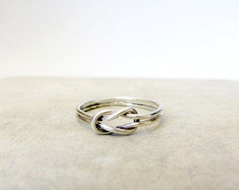 Infinity knot ring, sterling silver lover's knot ring