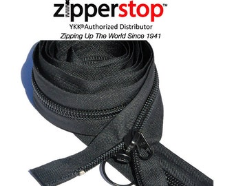 """Jeep YKK Zip~93"""" or 96"""" Nylon Coil Jeep Zipper YKK # 10 Coil with 2 Heads Ring and Long Pull - Separating Black Only (Options Length)"""