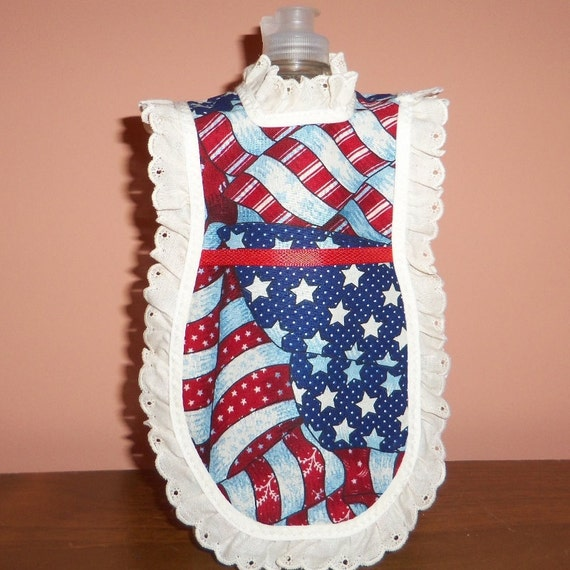 Americana Flag, Dish Soap Apron, Wine Bottle Apron, Flag,  Hostess Gift