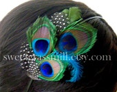 CALAIS Headband or Clip- Peacock, Turquoise, Polka Dot and Moss Green Feathers