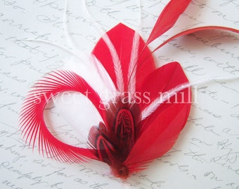 """Rouge Red Fascinator Pheasant White Ostrich Feather Clip """"Rouge Kiss"""""""