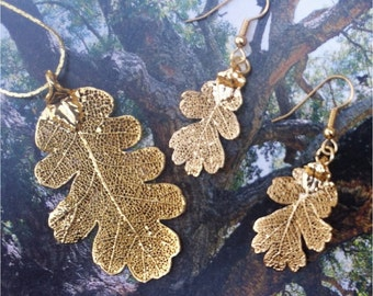 Real Oak Leaf Jewelry,  Earrings and Pendant, Gold dipped leaves Natures leaves
