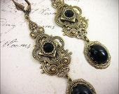 Black Medieval Earrings, Renaissance Jewelry, Tudor Costume, Historical Wedding, Queen, Ren Faire, Garb, Bridesmaid, Gothic Victorian, Bride