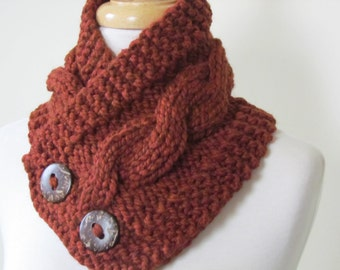 "Knit Neck Warmer, Cable Knit Scarf,  Chunky Warm Winter Scarf in Spice 6"" x 25"" Coconut Shell Buttons Ready to Ship - Direct Checkout"