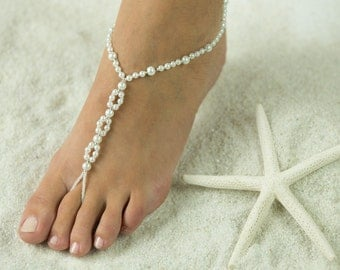 Sandy Beach Barefoot Sandals, Foot Jewelry for Beach Bride and Bridesmaids, Wedding Sandals. *FREE SHIPPING* Made in ALL Colors!