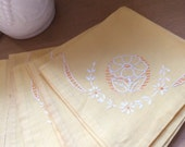 Vintage Set of 4 Yellow Tea Napkins with Flower Embroidery.