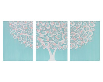 Large Nursery Wall Art Painting for Girl - Pink and Aqua Tree Triptych Canvas - Large 50x20