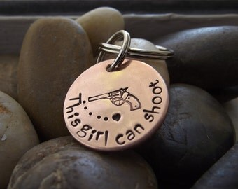 This girl can Shoot copper Key chain, Girl with a gun, Gun carrying girl, I can outshoot you, BFF gift, Hunting girl gift