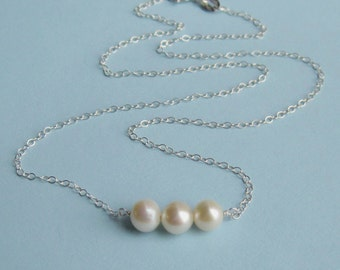 Sterling Silver and Freshwater Pearl Triplet Necklace