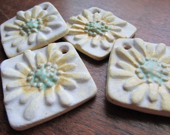 Fresh as a Daisy Squared, Art Bead, Handcrafted Ceramic Pendant, tracee, The Classic Bead, Daisy Pendant,