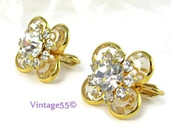 Earrings Rhinestone Crystal Clip On