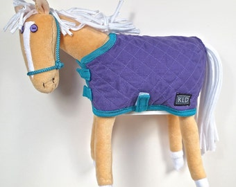 Purple Eyed Pony/ Palomino/ Purple Aqua Quilted Blanket