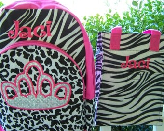 Personalized crown backpack. Zebra print lunch bag, Hot Pink, and Leopard. Appliqued. Girls backpack. girls lunch bag. monogrammed.