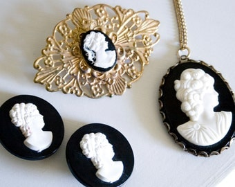 Lot of Black Plastic Cameo Pins and Necklace