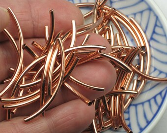 Copper noodle beads, 20+ 2mm x 38mm tubes, long and curved, bright plated brass with a 1mm hole (S)