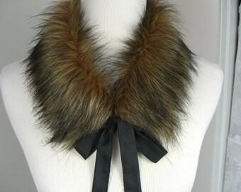 Faux Fur COLLAR, Fur Scarflette with satin ribbon ties, Women's Fur Neckwarmer, Fur Collar