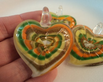 SALE - Glass Heart Pendant - Yellow/Green/Orange - PND927