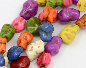 Chunky Howlite Nuggets - Mulitcolor - Sold per strand - #TURQ104