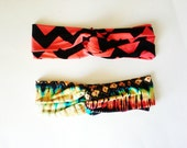 The Turban Headband- Tie Dye and Coral Chevron Print