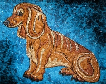Cute Red Dachshund Dog Iron on Patch red