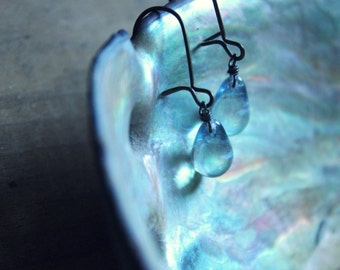Seaspray. Pale Water Blue Czech Glass and Antiqued Brass Earrings.