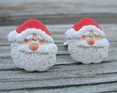 Santa Claus Cuff Links. Holiday Jewelry.