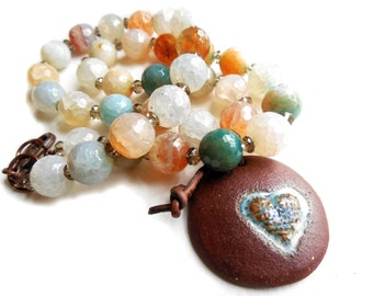 Multi Colored Gemstone and Ceramic Beaded Necklace, Heart Embossed Elaine Ray Pendant, Leather, Summer Fashion