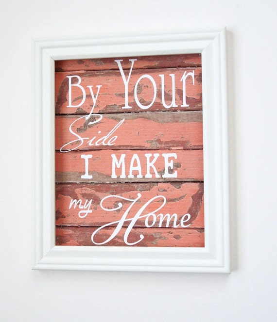 Items Similar To Typography Art Print,Rustic Coral Wood,We