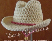 PDF CROCHET PATTERn SINGLE Strand Baby Cowboy, Cowgirl Hat Preemie, newborn to 6 month sizes Star Pattern included Digital Download