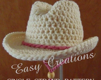 SINGLE STRANd, CROCHET PATTERn Cowboy Cowgirl Hat Baby Rodeo Western Boys Girls Preemie 0 to 6 month sizes star skill level intermediate