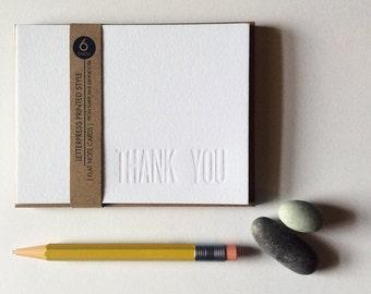 6 Blind Embossed Debossed Thank You Simple Letterpress Printed Cards Flat Notecards No Ink