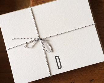 Monogrammed Letter D Note Card Set of 10 Letterpress Printed